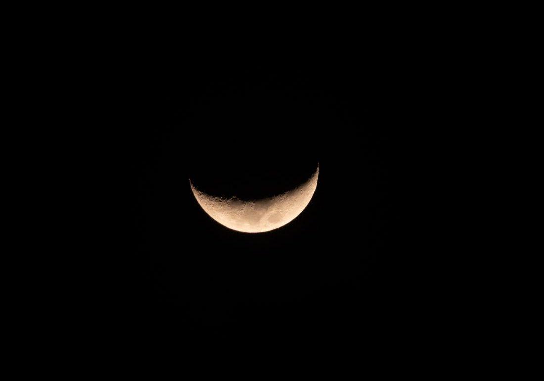 February crescent moon